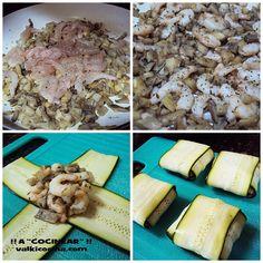 Receta fácil de deliciosos saquitos de calabacín con un jugoso relleno de setas y gambas. Te servirán como aperitivo o entrante y de guarnición.