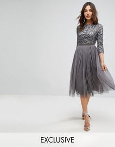 Maya 3/4 Sleeve Midi Dress in Tonal Delicate Sequin and Puffy Tulle Skirt with Bow Back