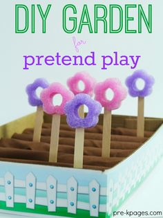 DIY Garden for Pretend Play in Preschool. Super easy to make, just craft sticks, pool noodles, and the lid from a copy box for hours of learning and fun!