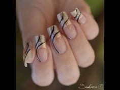 Image about nails in nail art by wearelovers on We Heart It Nail Art Noel, Nail Art Diy, Cool Nail Art, Colorful Nail Designs, Beautiful Nail Designs, Nail Art Designs, Gold Nails, Fun Nails, Black Nails
