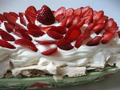 Pavlova - first created in the 1920's in honor of the famous Russian ballet dancer, Anna Pavlova.  Australia and New Zealand claim to be the birthplace of the recipe.