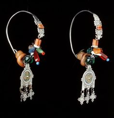 Morocco | Earrings; coral, amber, glass, silver, enamel | African Museum (Belgium) Collection; acquired 1990