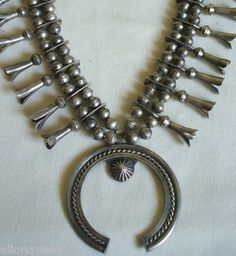 Old NAVAJO Hand-Made INGOT SILVER Bench Beads SQUASH BLOSSOM NECKLACE ******SOLD******