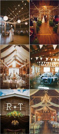 Country Barn Wedding Decor Ideas with lights / http://www.deerpearlflowers.com/rustic-barn-wedding-ideas/2/