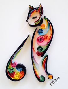 Unique and memorable art for a cat lovers. Unique and memorable art for a cat lovers. Arte Quilling, Paper Quilling Patterns, Paper Quilling Jewelry, Origami And Quilling, Quilled Paper Art, Quilling Paper Craft, Paper Crafts, Cat Crafts, Paper Quilling For Beginners