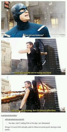 And Clint and Cap must have used this exchange from Brooklyn Nine-Nine during battle, at some point: - Marvel & DC - Best Humor Funny Avengers Humor, Marvel Avengers, Funny Marvel Memes, Marvel Jokes, Dc Memes, Marvel Films, Marvel Dc Comics, Avengers Tumblr Funny, Marvel Tumblr