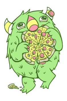 The pizza monster!  This is so what I turn into when pizza is around.