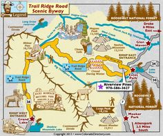 Trail Ridge Road Scenic Byway Map, Colorado Vacation Directory