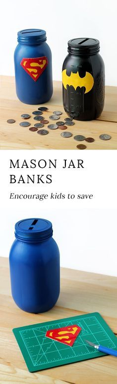 Learn how to DIY a Mason Jar Superhero Bank to help your child learn about the importance of saving, spending, and donating their money. via @https://www.pinterest.com/fireflymudpie/