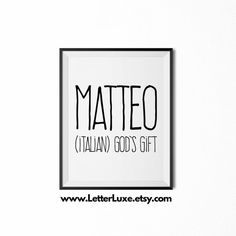 Matteo Printable Kids Gift Name Meaning by LetterLuxePrintables