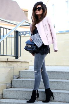outfit: grey and pink - FashionHippieLoves. White striped bell sleeves blouse+black lace top+grey ripped skinny jeans+black heeled ankle boots+light pink leather jacket. black crossbody bag+black sunglasses. Winter Smart Casual Outfit 2017