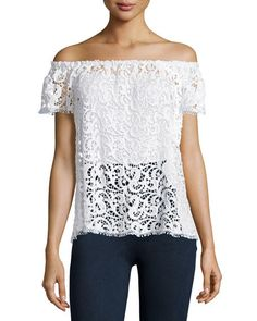 Hiche Off-The-Shoulder Crochet Lace Top White $155 SHIPS FREE or BUY HERE IN SANTA MONICA * BEST PRICE GUARANTEED * BUY HERE: http://piermart.com/hiche-off-the-shoulder-crochet-lace-top-white-155-ships-free/