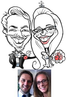 Black and white caricature from photo, commissioned by bride and groom to be to used on their wedding invitations