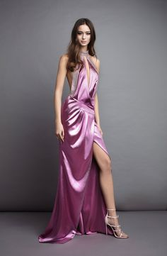 54f580cc2983 Candice Asymmetrical wrap dress with a halter neckline and diamond crystal  mesh feature in the back