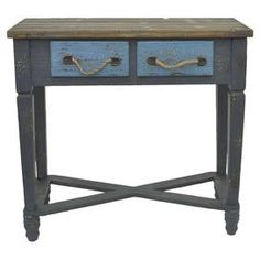 The perfect canvas for a vase of vibrant blooms or an array of family photos, this weathered 2-drawer console table features rope handles and a cool palette.