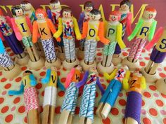 the vintage umbrella: alphabet clothespin dolls