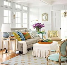 To Match or Not to Match: Sofa Pillows | Opal Design Group ~ Neutral Sofa / Bright Mixed Pillows