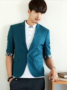 64.66 -- Mens Suit Formal Korea Style Solid Color One Button Three-quarter  Sleeve f3042a13a9