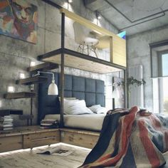 Home offic in industrial small studio apartment ideas