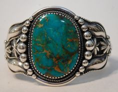 Ernest R. Begay Turquoise Mountain turquoise and heavy sterling bracelet...beautiful stone