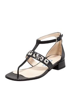 X1KCY Prada Studded T-Strap Saffiano Sandal, Black