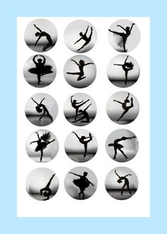 Dance silouhette bottle cap image sheet | BlueEyedKissesBoutique - Graphics on ArtFire