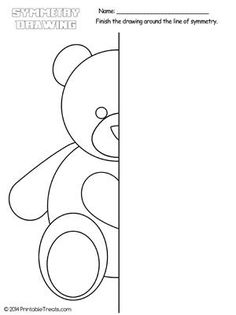 Here's a fun teddy bear symmetry drawing worksheet to help your child learn and keep busy. This is a great easy drawing worksheet that can be turned into a coloring page. Symmetry Worksheets, Symmetry Activities, Art Worksheets, Worksheets For Kids, Printable Worksheets, Activities For Kids, Drawing For Kids, Art For Kids, Symmetry Art