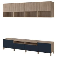 IKEA - BESTÅ TV storage combination walnut effect light gray Tv Storage, Storage Spaces, Tv Bench, Frame Shelf, Plastic Foil, Ikea Family, Drawer Fronts, Tv Unit, Aperture