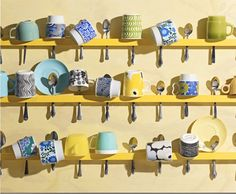A fun/clever way to display pretty mugs or cups.