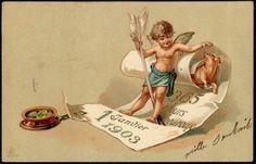 French 1903 Emb. New Year Postcard - Angel, Cherub Four Leaf Clover, Pig, Piglet   eBay