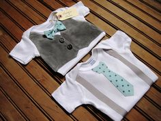 Gray+Corduroy+Vest+Onesie+&+Bow+Tie+Onesie+by+LaddiesAndLasses,+$43.00
