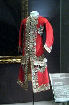 Red wool justaucorp worn by Peter II of Russia,1727-1730