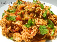 My Favorite Things: Pulled Turkey with Garden Salsa Crockpot Recipes, Healthy Recipes, Healthy Foods, Main Dishes, Side Dishes, Good Food, Awesome Food, Stuffed Jalapeno Peppers, Turkey Recipes