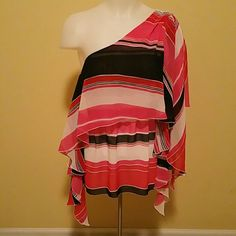 Vince Camuto Size 2 One Shoulder Top Bold stripes, flowing layers. The dark shade is navy blue. Not black. Pink, red and orange stripes. Non smoking. EUC. Vince Camuto Tops