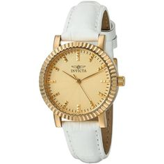 Invicta Angel Analog Display Quartz White Watch ($60) ❤ liked on Polyvore featuring jewelry, watches, invicta, quartz watches, white wrist watch, quartz jewelry and 18k watches