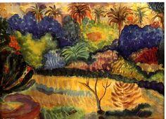 Paul Gauguin - 保罗·高更作品大溪地风光- Tahitian landscape (1897).