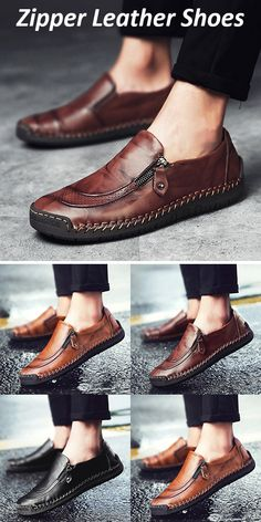 b9ffa73c78a  48%OFF Mens Hand Stitching Zipper Slip-ons Leather Shoes shoes