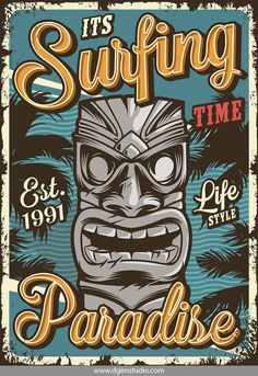Buy Vintage Surfing Poster by imogi on GraphicRiver. Vintage surfing colorful poster with tribal hawaiian tiki mask vector illustration Hawaiian Tribal, Hawaiian Tiki, Vintage Hawaii, Surf Table, Vintage Surfing, Ps Wallpaper, Retro Kunst, Wall Collage, Wall Art