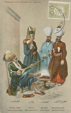 """Ottoman Turkey, Costumes, Medjmouaï Teçavir (1910s) Fruchtermann No. 111. Max Fruchtermann, 1852-1918. The most prominent early publisher of Ottoman postcards, at the age of seventeen he opened a frame-shop at Yüksekkaldirim Istanbul. It is hard to underestimate his role in the publishing scene that followed. He was one of the first """"editeurs"""" (if not the very first) to create postcards depicting the Ottoman Empire."""