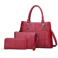 4adc2657eae 3 Sets of Suture Stitches Single Shoulder Ladies Handbags - RED Sacs À Main  Pour Femmes