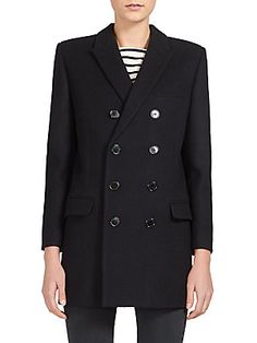Saint Laurent Double-Breasted Wool Caban Jacket