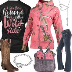 The shirt and boots Camo Girl Outfits, Western Outfits, Fall Outfits, Casual Outfits, Fashion Outfits, Camo Fashion, Cowgirl Fashion, Women's Fashion, Cute Simple Outfits