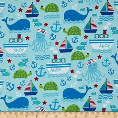 Timeless Treasures Nautical Motifs Aqua from @fabricdotcom  Designed for Timeless Treasures, this cotton print fabric is perfect for quilting, apparel and home decor accents. Colors include shades of blue, white, red and green.