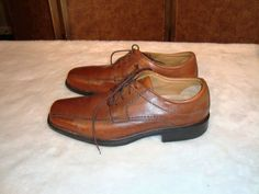 Rockport Sz 10M Men's Brown Leather Bicycle Toe Oxford Dress Shoes #Rockport #Oxfords