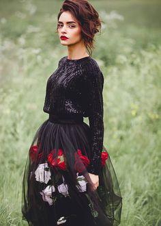 Tulle skirt | Купить Черная юбка с розами - юбка, юбка летняя, юбка миди, пышная юбка