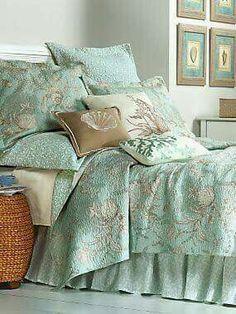 Bedroom colors (By the Sea Coverlet, Shams and Pillows Beach Bedding, Coastal Bedding, Coastal Bedrooms, Coastal Living, Beach Cottage Decor, Coastal Decor, Coastal Cottage, Coastal Style, Home Bedroom