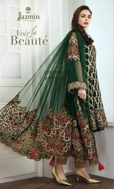 Latest Jazmin Embroidered Chiffon collection for women's Latest Pakistani Dresses, Pakistani Designer Suits, Pakistani Fashion Casual, Pakistani Wedding Dresses, Pakistani Dress Design, Pakistani Suits, Pakistani Culture, Bridal Dresses Online, Party Wear
