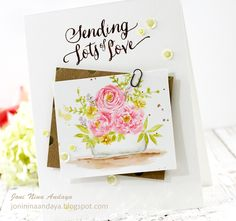 Joni Andaya for WPlus9 featuring Heartfelt Holiday, Pretty Little Peonies, Valentine Wishes, and Fresh Baked stamp sets.