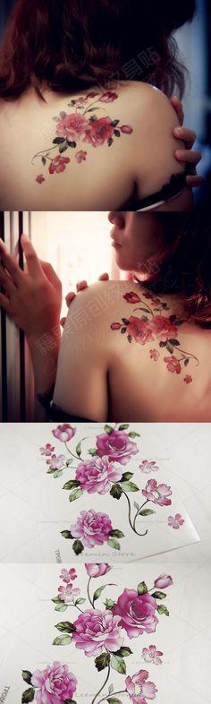 Temporary tattoo, romantic red rose, women waterproof tattoo stickers, back flower tattoo $1.66