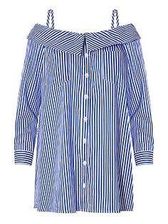Shop Blue Off Shoulder Stripe Button Detail Long Sleeve Cami Dress from choies.com .Free shipping Worldwide.$20.99